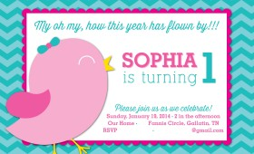 Bird 1st Birthday Party Invitation