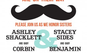 Mustache and Chevron Baby Shower Invitation