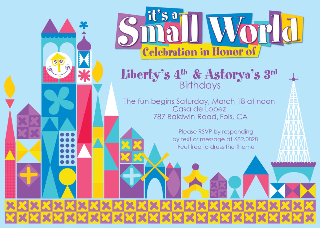 lauren gregory it s a small world birthday party invite